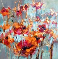 """Garden of Glory-Floral Painting by Joan Fullerton Oil ~ 40"""" x 40"""""""