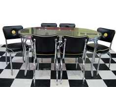 """x Yellow Ebony Boomerang Dinette Set with 6 matching Button Back Chairs. This set features our exclusive 3 inch """"Deco"""" metal banding. Kitchen Dinette Sets, Retro Furniture, Appliances, Chairs, Button, Yellow, Metal, Home Decor, Gadgets"""