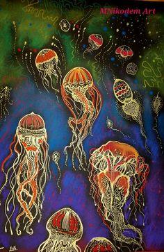 Medúzák A/4 Zselés toll, pasztell MNikodem Art Nikodém Mónika