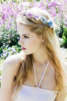 Image of Rainbow Floral Paper Flowers Festival Wedding Summer Hair Crown/Wreath/Garland