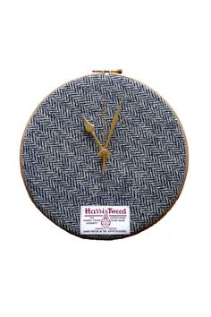 This clock makes a perfect wedding present or housewarming gift, equally at home on the wall or perched on a mantle or shelf. It comes in a bespoke gift box, making it really easy to give as a gift. The Original Harris Tweed Hoop Clock. Handwoven Red Check (Plaid) Harris Tweed. Handmade in Scotland. Harris Tweed Clock Black & White Herringbone This clock makes a perfect wedding present or housewarming gift, equally at home on the wall or perched on a mantle or shelf. It comes in a bespoke…