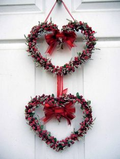 Valentine Wreath , Heart Wreath , Wreath For The Door , Sweet Heart Wreath. $69.00, via Etsy.