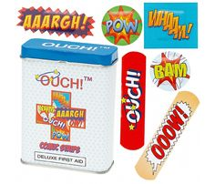 OUCH! Comic Strip Bandages - I will be buying these! A great stocking stuffer (band-aids are a fashion accessory in our house).