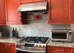 Long Brick Pattern Aluminum Mosaic Tile for Backsplash Fireplace & Wall Fireplace Wall, Fireplace Surrounds, Fireplace Design, Brick Patterns, Stainless Steel Metal, Tile Installation, Call Backs, Kitchen Photos, Mosaic Tiles
