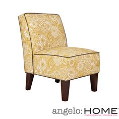 @Overstock - The angelo:HOME Dover armless accent chair was designed by Angelo Surmelis. The Dover armless chair is covered in a vintage cream and tan floral on a golden yellow background accented with a gray renu leather welt.http://www.overstock.com/Home-Garden/angelo-HOME-Dover-Vintage-Sun-Washed-Floral-Tan-Armless-Chair/7258524/product.html?CID=214117 $234.99