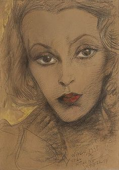 Witkacy- Portrait of Maria Dabrowiecka. I like it for a few reasons. Harlem Renaissance, Pastel Drawing, Painting & Drawing, 3d Drawings, Drawing Faces, Artists Like, Art Deco, Cat Posters, Magic Realism