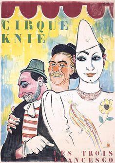 Poster by Hans Schöllhorn (1892-1982), 1948, Cirque Knie, Les Trois Francesco. (S)