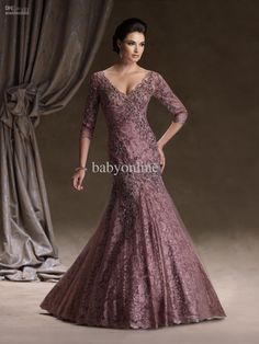 Wholesale 2013 Evening Dresses Sexy Lace Long Sleeves V neck Mermaid Mother Of The Bride Dresses 113D06, Free shipping, $145.6-155.68/Piece | DHgate