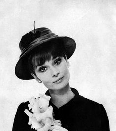 "Audrey Hepburn modeling Givenchy hats, photographed by Cecil Beaton in June 1964, for the fashion editorial: ""Audrey Hepburn in Givenchy's My Fair Lady Hats,"" for Vogue US, August 15, 1964. The hats are contemporary, or perhaps more practical, versions of the hats in ""My Fair Lady."""