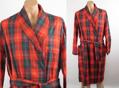 Vintage 60s 70s Mans Robe Red and Green Plaid Cotton Sears Roebuck NOS Sz XXL 46-48 by alleycatsvintage on Etsy https://www.etsy.com/listing/173229802/vintage-60s-70s-mans-robe-red-and-green
