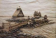 Купить Остров - Резное панно из дерева, резная картина из дерева, резное дерево, резное панно