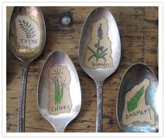 Items similar to HERBS 5 Illustrated Vintage Silverware Spoon Garden and Plant Markers on Etsy Herb Markers, Plant Markers, Garden Markers, Garden Signs, Garden Projects, Garden Ideas, Craft Projects, Spring Projects, Garden Crafts