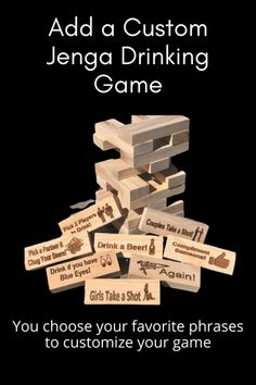 Customized adult party drinking game just like Jenga. The Best Adult Party Drinking Game available! #jengadrinkinggame #jenga #jengagame #customgifts #adultparty #drinking #drinkinggame #drinkinggames #etsyshop #drunkjenga #partygames #partygame #adultparty #alcohol #drinkup #bar #drink #drinkporn #happyhour #drunk #cocktail #wasted #weekendgetaway #custom #personalizedgifts #personalizedgames #shots #chug #tailgaiting #college_life Sister Gifts, Best Friend Gifts, Gifts For Friends, Gifts For Mom, Jenga Drinking Game, Movie Drinking Games, Outdoor Yard Games, Adult Party Games, Etsy Business
