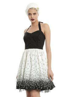Music Note Halter Dress, BLACK
