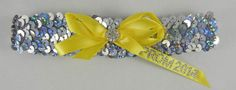 Silver Sequin Prom Garter with Sunshine Yellow Bow