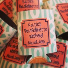 bachelorette weekend koozies from haymarket designs--- this place has some seriously awesome monogrammed stuff!