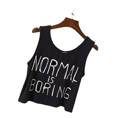 Lisingtool Womens Tank Tops NORMAL IS BORING Letter Print Vest Blouse Small Black >>> To view further for this item, visit the image link.(It is Amazon affiliate link) #bestfriend