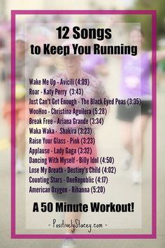 12 Songs to Keep You Running - Perfect for a 50 minute workout!