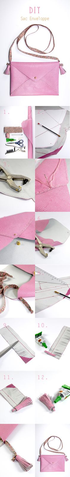 DIY tuto sac enveloppe en cuir- leather envelope bag