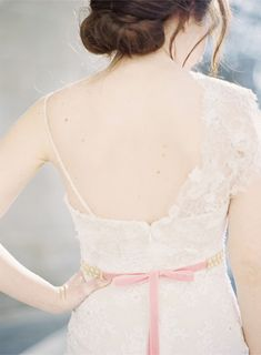 Sweet pink bridal belt / Hushed Commotion / Jen Huang Photography via @Sara {Burnett's Boards}