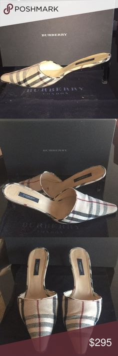 """BURBERRY NOVA CHECK MULE Authentic famous Burberry designer plaid material slides. Preowned in very good condition, the usual wear signs, comes with dust bag & box, heels 3""""size on box says NOVA10B Burberry Shoes Mules & Clogs"""