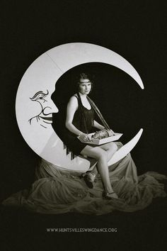 Paper Moon Backdrop, Cigarette Girl Flapper selling raffles tickets for 1920s Great Gatsby themed fundraiser!