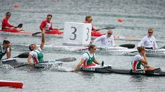 (L-R) Krisztina Fazekas, Katalin Kovacs, Danuta Kozak and Gabriella Szabo of Hungary celebrate winning the Gold medal in the Women's Kayak Four (K4) 500m Sprint final during the Canoe Sprint on Day 12 of the London 2012 Olympic Games at Eton Dorney.  (8-8-2012)