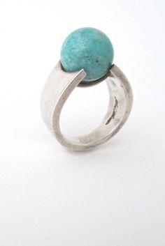 Hans Hansen, Denmark - amazonite sphere ring #Denmark #ring