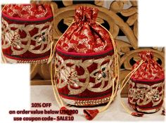 Red Silk #Potli With #Mukaish Work by #Blue Ocean