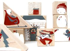 winter wooden blocks- stackable toy - art - Etsy..... but i could make these!!