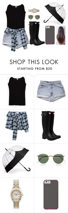 """Sin título #288"" by sabri-belieber ❤ liked on Polyvore featuring Zara, Faith Connexion, Hunter, Ray-Ban, Rolex and Case-Mate"