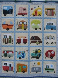 Retro Caravan Cot Quilt - Have you ever spent a holiday in a caravan? This Retro Caravan Cot Quilt by A Little Craft is simply adorable. Retro Caravan, Retro Campers, Quilting Projects, Quilting Designs, Sewing Projects, Quilting Ideas, Patchwork Quilting, Applique Quilts, Crazy Quilting