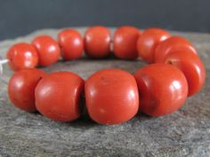 *!* Precious *!* 12 Selected old NATURAL RED CORAL beads. MOROCCO