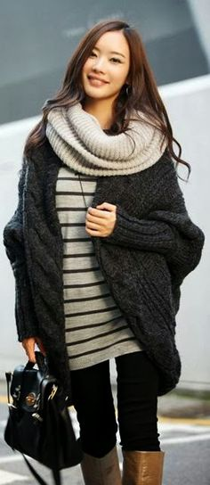 Cute Fall Outfit With Wire Knit Oversized Cardigan  this looks so comfy i want it ASAP