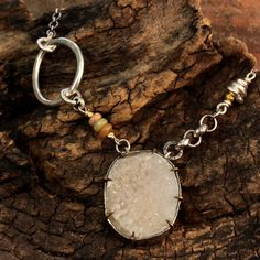 White druzy gemstone pendant necklace in silver bezel and prong setting Check more at