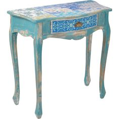 Add a touch of country romance to your bedroom or hallway with this birchwood console table, featuring a distressed turquoise finish and a patchwork top. Won...