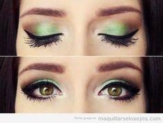 Maquillaje de ojos marrones o miel en tonos verdes