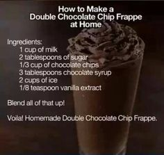 Double Chocolate Chip Frappe at Tasty Fun Recipes We have an easy recipe for you today! It is the Double Chocolate Chip Frappe which is delicious! Everyone has tasted one of these before and if you do (Chocolate Milkshake For One) Yummy Drinks, Delicious Desserts, Dessert Recipes, Yummy Food, Fun Recipes, Recipe Ideas, Drink Recipes, Easy Recipes For One, Juicer Recipes