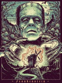 "kogaionon:  Frankenstein by Godmachine / Facebook / Instagram / Twitter / Tumblr / Store 18"" x 24"" 5 color screen print, numbered edition of 50. Private commission, not for sale.    Boris Karloff! One of his best roles! Next tattoo"