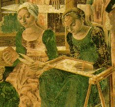 In this picture from the 13th century, the woman on the right is doing embroidery on a lap frame. The Bayeux linen would most likely have been stretched on ...