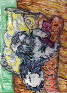 "By; Rachelle Ludwig  This is my original art-work of my dog, ""Hank."" Please do not re-pin without this credit. Original Draft"