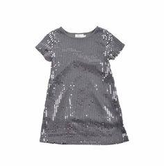 Vestido para niña, bordado con lentejuelas, todo en color gris. Girl Fashion, Tops, Women, Girls Dresses, Little Girl Clothing, Grey Colors, Beading, Women's Work Fashion, Girl Clothing