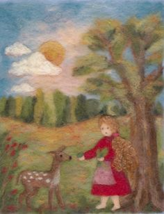 girl with fawn needle felted art