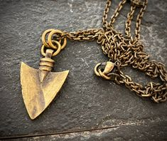 Handcrafted out of solid brass. So much to love about this arrowhead pendant and necklace. Brass Necklace, Arrow Necklace, Vintage Gentleman, Brass Chain, Cute Jewelry, Cross Pendant, Necklace Lengths, Jewelery, Jewelry Making