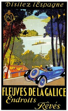 Shop Fleuves De La Galice ~ Spain Vintage Car Cars Poster created by caferetro. Personalize it with photos & text or purchase as is! Auto Poster, Poster Ads, Car Posters, Advertising Poster, Custom Posters, Poster Prints, Guernica, Cars Vintage, Vintage Racing