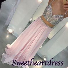 Sparkly two pieces prom dress for teens, beaded pink chiffon prom dress with…