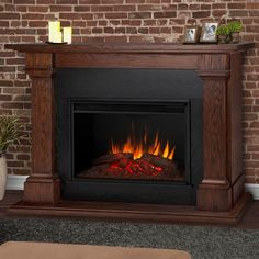 Real Flame Callaway 63 in. Grand Electric Fireplace in Chestnut Oak-8011E-CO - The Home Depot