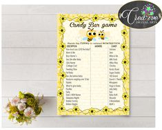 CANDY BAR baby shower game with yellow bee, digital files, instant download - bee01 #babyshowergames #babyshowerdecorations