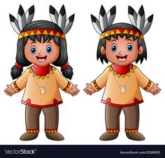 Vector illustration of Cartoon children native Indian American , American Indians, Native American, Wedding Couple Cartoon, Costumes Around The World, Bible Lessons For Kids, Native Indian, Art Lesson Plans, Westerns, Animal Drawings