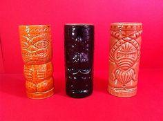 "TIKI MUG SET TUMBLERS CERAMIC GLASSES COLLECTIBLES TRADER PANG'S 6"" GLAZED CUPS"